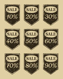 Vintage sale icons set. Discount from 10 to 90 percent Royalty Free Stock Images
