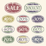 Vintage sale icons set. Discount from 10 to 90 percent Royalty Free Stock Image