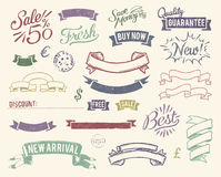 Vintage sale icons set. Vector file has 3 layers: 1-background 2-shapes (ribbons, banners, stamps and marks) 3-broken effect Stock Image