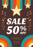 Vintage sale 50% off vector flyer. Vertical banner in retro style - special offer. Abstract background. Design layout Royalty Free Stock Image