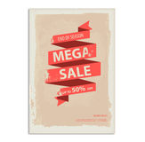 Vintage sale poster, flyer with ribbon banner Royalty Free Stock Photos