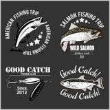 Vintage Salmon Fishing emblem, label and design elements. Vector illustration. royalty free illustration