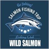 Vintage Salmon Fishing emblem, label and design elements. Vector illustration. stock illustration