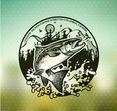 Vintage Salmon fishing emblems Royalty Free Stock Image