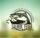 Vintage Salmon fishing emblems stock illustration