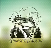 Vintage Salmon fishing emblems Royalty Free Stock Photography