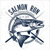 Vintage salmon fishing emblems Stock Photo