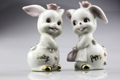 Vintage Salt and Pepper Shakers. A pair of ceramic bunnies named Salty and Peppy. Vintage collectable shakers Stock Image