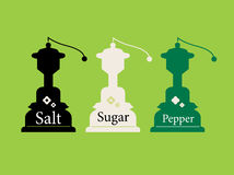 Vintage Salt, Sugar and Pepper collection isolated on wild green Royalty Free Stock Image