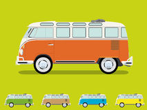Vintage Samba Camper Van Vector Illustration. Vintage microbus Samba model with open roof, detailed side view, four more slightly simplified smaller color Royalty Free Stock Photography