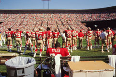 Vintage San Francisco 49ers bench. Stock Image