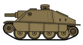 Vintage sand tank destroyer. Hand drawing of a vintage sand tank destroyer Stock Photos