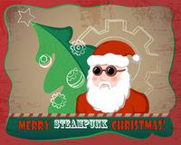 Vintage Santa Claus with fir tree  illustration. Steampunk Christmas Stock Image