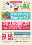Vintage santa claus newspaper with merry christmas greeting text and graphic elements vector template Stock Image