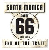Vintage Santa Monica Pier Route 66 Sign Original Retro Style. Vintage Santa Monica Pier Route 66 Sign End of the Trail Original Style Metal Tin Rustic Retro Vector Illustration