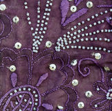 Vintage sari fabric with embellishments. Royalty Free Stock Photos