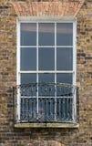 Vintage Sash Window with Iron Balcony. Split Toning Shallow Depth of Field Architecture Details Stock Photos
