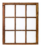 Vintage sash window panel. Panel of vintage, grunge, sash window with dirty glass (9 panes), isolated on white with a clipping path Stock Image