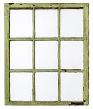 Vintage sash window panel. Panel of vintage, grunge, sash window with dirty glass (9 panes), isolated on white with a clipping path Royalty Free Stock Image