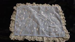 Vintage satin & lace handkerchief pastel blue Stock Photo