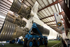 Vintage Saturn V Rocket. A vintage Saturn V rocket sitting at the rocket park at the Johnson Space Center in Houston, Texas Stock Photo