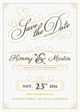 Vintage save the date card letterpress style Stock Photos