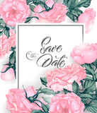 Vintage Save the date with roses. wedding invitation design. Hand drawn illustration. Vector Stock Photography
