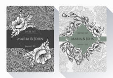 Vintage save the date or wedding invitation card collection with black and white flowers, leaves and branches. Stock Image