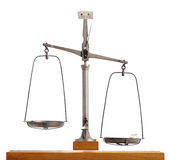 Vintage scale with the pans out of equilibrium Royalty Free Stock Images