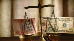 Vintage scales as a tool in weight of currency (Ukrainian hryvnia and the dollar) stock footage