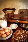 Vintage scales and ingredients, detail royalty free stock image