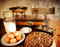 Vintage scales and ingredients, landscape royalty free stock photos
