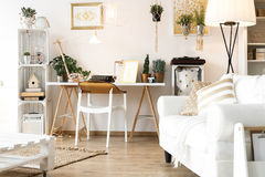 Vintage scandi room. With white and golden furniture Royalty Free Stock Images
