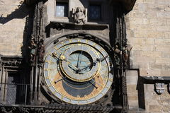 Vintage scene of Prague astronomic watch at city central square. Stock Image