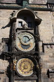 Vintage scene of Prague astronomic watch at city central square. Royalty Free Stock Images