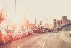 Vintage Scenic view of the evening street of Kalkara Malta in the rays of sunset. Toned instagram effect Royalty Free Stock Photography