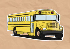 Vintage school bus. School bus illustration on old paper stock illustration
