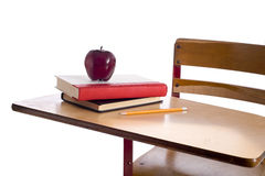 Vintage School Desk with Apple Royalty Free Stock Images