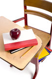 Vintage School Desk with Apple Stock Image