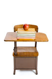 Vintage school desk and apple Royalty Free Stock Photo