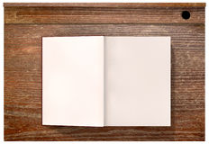 Vintage School Desk Top With Open Blank Book Royalty Free Stock Images
