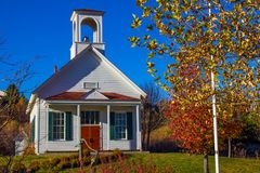Vintage School House With Bell. Vintage Restored School House With Bell In Tower Stock Image