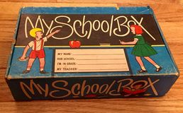 Vintage school pencil box. An old fashion school pencil stock images