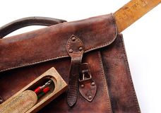 Vintage schoolbag - close-up Stock Photos
