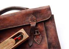 Vintage schoolbag - detail stock photo