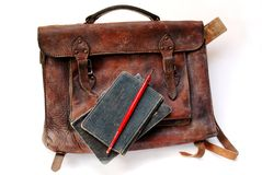 Vintage Schoolbag From Thirties Royalty Free Stock Photography