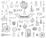 Vintage science objects set in steampunk style. Scientific equipment for physics, chemistry, geography, pharmacy. Isolated elements. Vector illustration Stock Images