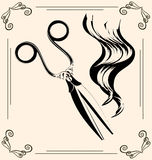 Vintage scissors. Black outlines of womans hair and vintage scissors Stock Photo