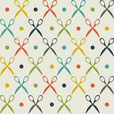 Vintage scissors pattern. Vintage pattern design with colored scissors silhouettes Royalty Free Stock Photo