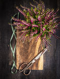 Vintage scissors with ribbon and autumn flowers on rustic wooden background Stock Photos